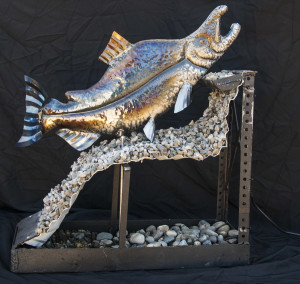 pink salmon river sculpture